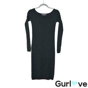 Theory 0 Black Cashmere Long Sleeve Dress